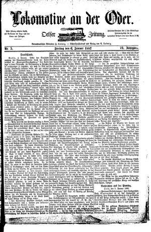 Lokomotive an der Oder vom 06.01.1882