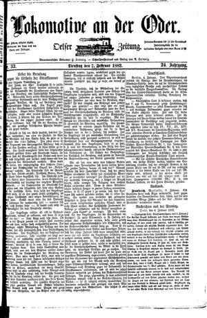 Lokomotive an der Oder vom 07.02.1882