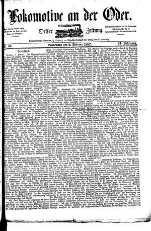 Lokomotive an der Oder vom 09.02.1882