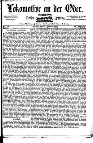 Lokomotive an der Oder vom 21.02.1882