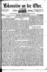 Lokomotive an der Oder (22.02.1882)