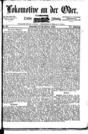 Lokomotive an der Oder vom 23.02.1882