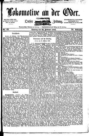 Lokomotive an der Oder vom 26.02.1882