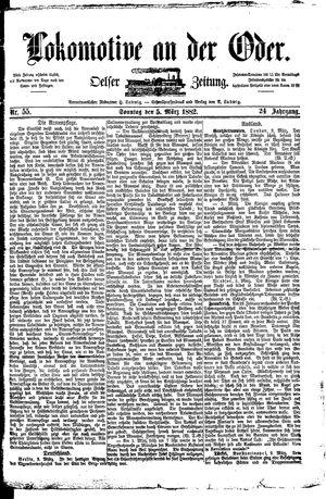 Lokomotive an der Oder vom 05.03.1882