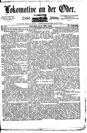 Lokomotive an der Oder vom 09.03.1882