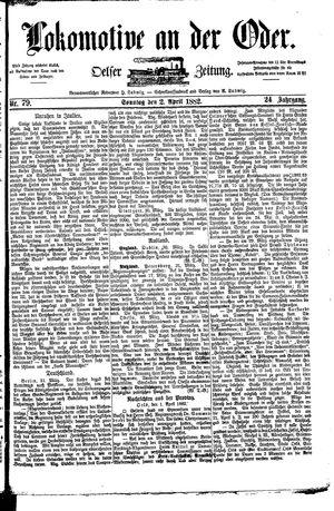 Lokomotive an der Oder vom 02.04.1882