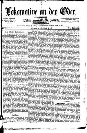 Lokomotive an der Oder vom 05.04.1882