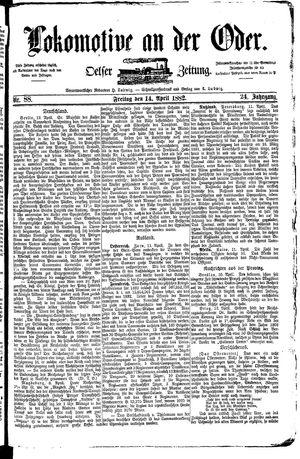 Lokomotive an der Oder vom 14.04.1882