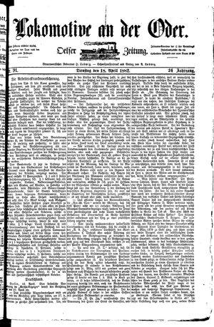 Lokomotive an der Oder vom 18.04.1882