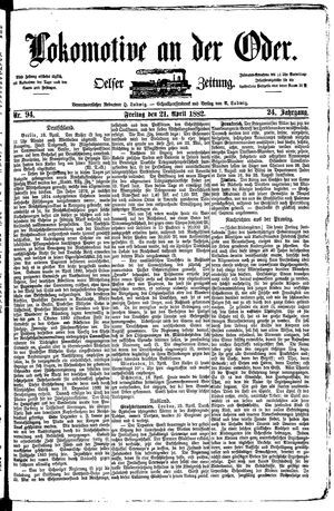 Lokomotive an der Oder vom 21.04.1882