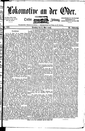 Lokomotive an der Oder vom 02.05.1882