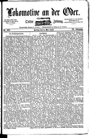 Lokomotive an der Oder vom 05.05.1882
