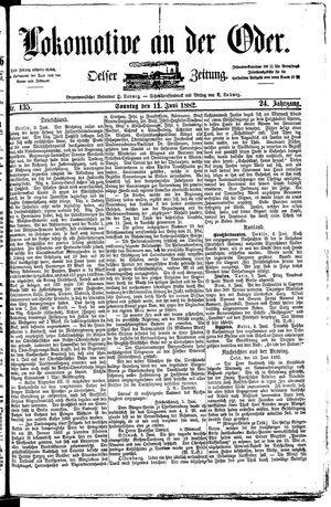 Lokomotive an der Oder vom 11.06.1882