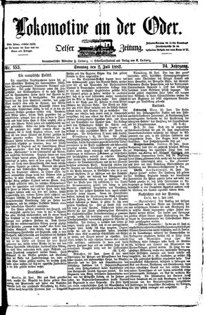 Lokomotive an der Oder vom 02.07.1882