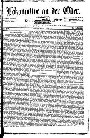 Lokomotive an der Oder vom 04.07.1882