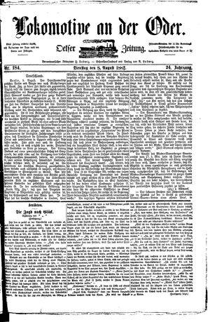Lokomotive an der Oder vom 08.08.1882