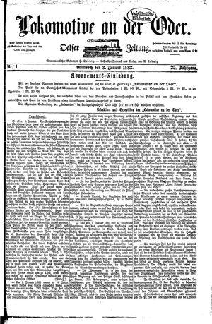 Lokomotive an der Oder vom 03.01.1883