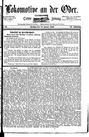 Lokomotive an der Oder vom 23.01.1883