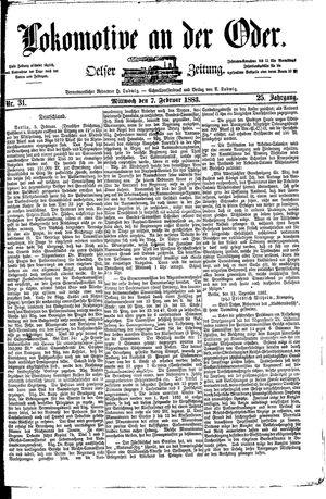 Lokomotive an der Oder vom 07.02.1883