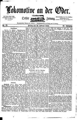 Lokomotive an der Oder vom 23.02.1883