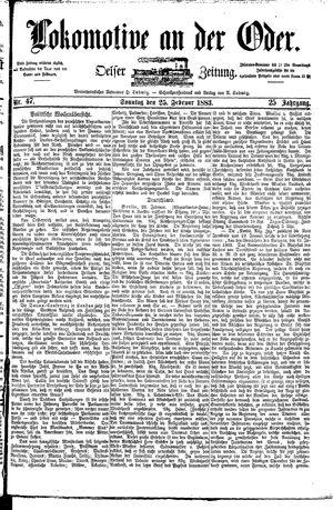 Lokomotive an der Oder vom 25.02.1883