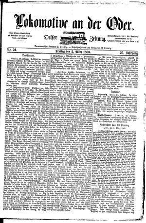 Lokomotive an der Oder vom 02.03.1883
