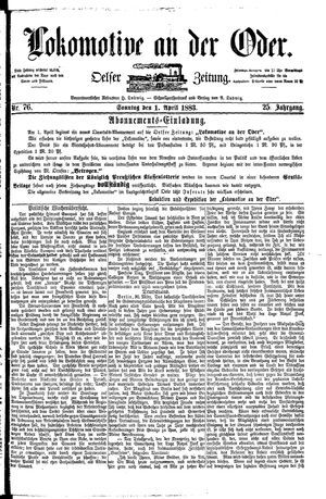 Lokomotive an der Oder vom 01.04.1883