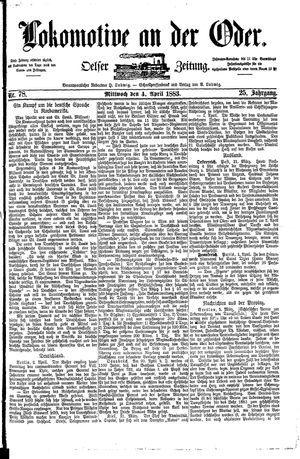 Lokomotive an der Oder vom 04.04.1883