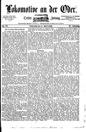 Lokomotive an der Oder vom 05.04.1883