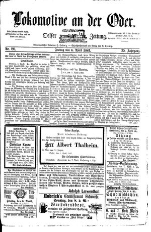 Lokomotive an der Oder vom 06.04.1883