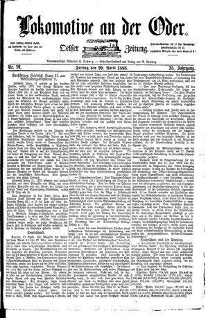 Lokomotive an der Oder vom 20.04.1883