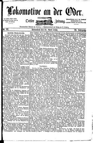 Lokomotive an der Oder vom 21.04.1883