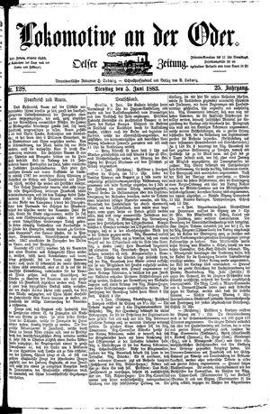Lokomotive an der Oder vom 05.06.1883