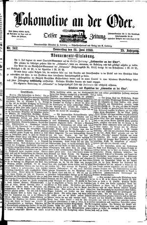 Lokomotive an der Oder vom 21.06.1883
