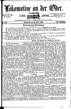 Lokomotive an der Oder vom 23.06.1883