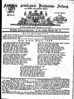 Königlich privilegirte Berlinische Zeitung von Staats- und gelehrten Sachen vom 02.01.1839