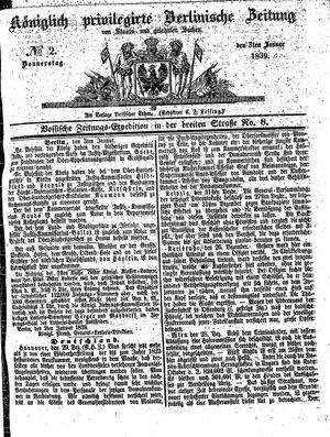 Königlich privilegirte Berlinische Zeitung von Staats- und gelehrten Sachen vom 03.01.1839