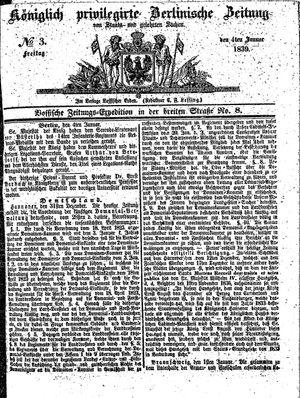 Königlich privilegirte Berlinische Zeitung von Staats- und gelehrten Sachen vom 04.01.1839