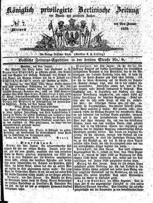 Königlich privilegirte Berlinische Zeitung von Staats- und gelehrten Sachen vom 09.01.1839