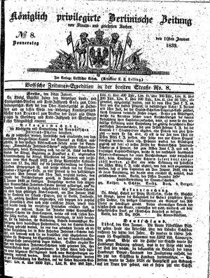 Königlich privilegirte Berlinische Zeitung von Staats- und gelehrten Sachen vom 10.01.1839