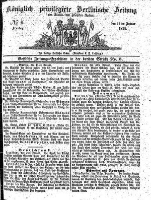 Königlich privilegirte Berlinische Zeitung von Staats- und gelehrten Sachen on Jan 11, 1839
