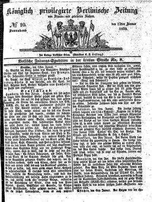 Königlich privilegirte Berlinische Zeitung von Staats- und gelehrten Sachen on Jan 12, 1839