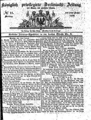 Königlich privilegirte Berlinische Zeitung von Staats- und gelehrten Sachen vom 14.01.1839