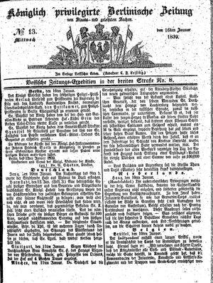 Königlich privilegirte Berlinische Zeitung von Staats- und gelehrten Sachen vom 16.01.1839