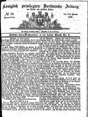 Königlich privilegirte Berlinische Zeitung von Staats- und gelehrten Sachen vom 17.01.1839