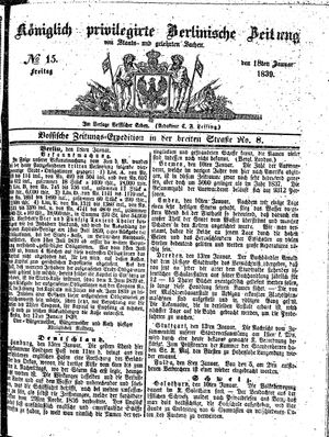 Königlich privilegirte Berlinische Zeitung von Staats- und gelehrten Sachen vom 18.01.1839