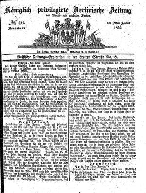 Königlich privilegirte Berlinische Zeitung von Staats- und gelehrten Sachen vom 19.01.1839