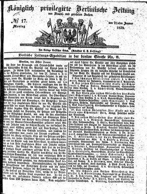 Königlich privilegirte Berlinische Zeitung von Staats- und gelehrten Sachen vom 21.01.1839