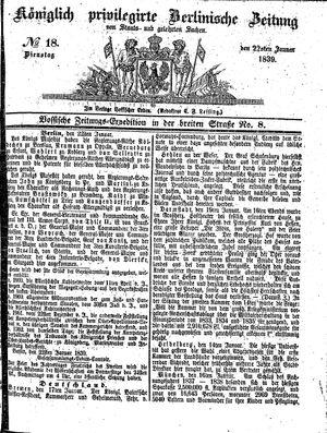 Königlich privilegirte Berlinische Zeitung von Staats- und gelehrten Sachen vom 22.01.1839