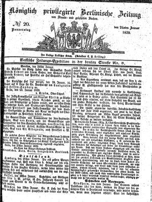 Königlich privilegirte Berlinische Zeitung von Staats- und gelehrten Sachen vom 24.01.1839